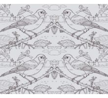 Chaffinch Toile de Jouy Inspired Pale Grey Sticker