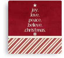 Christmas Typography Tree Canvas Print
