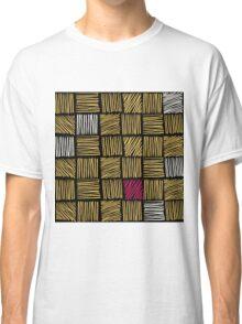 Abstract geometric hand drawn strokes seamless pattern. Classic T-Shirt