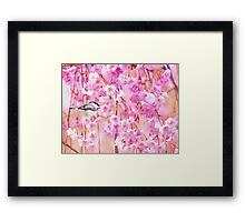 Black Cap Chickadee In Pink Weeping Willow Framed Print