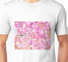 Black Cap Chickadee In Pink Weeping Willow Unisex T-Shirt