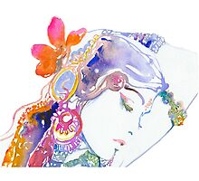 GIRL BEAUTY FLOWERS DESING Photographic Print