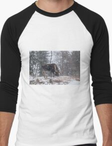 Moose in a snow storm Men's Baseball ¾ T-Shirt