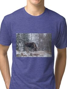 Moose in a snow storm Tri-blend T-Shirt