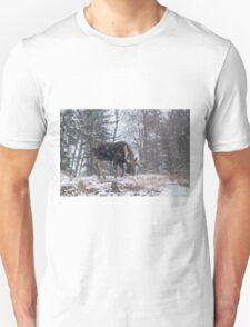 Moose in a snow storm Unisex T-Shirt
