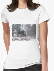 Moose in a snow storm Womens Fitted T-Shirt