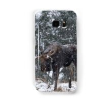 Moose in a snow snow storm Samsung Galaxy Case/Skin