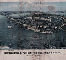 Civil War Maps 0400 Fortress Monroe Old Point Comfort Hygeia Hotel Va in 1861 1862 The key to the South by wetdryvac