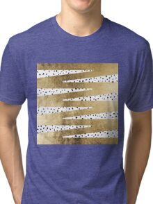 Artistic Chic Gold & Black Zigzag & Abstract Triangles Tri-blend T-Shirt