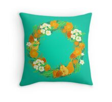 Floral wreath Throw Pillow
