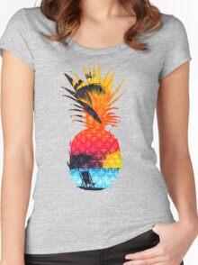 Pineapple Summer Beach Women's Fitted Scoop T-Shirt