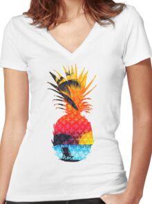 Pineapple Summer Beach Women's Fitted V-Neck T-Shirt