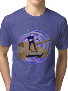 Doctor Who Riding a Tank and Playing Guitar Tri-blend T-Shirt