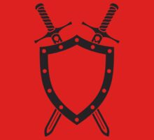 Shield & Swords Tattoo Design - Black on Red One Piece - Short Sleeve