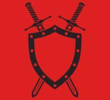 Shield & Swords Tattoo Design - Black on Red Kids Tee