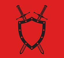 Shield & Swords Tattoo Design - Black on Red Unisex T-Shirt