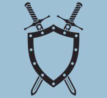 Shield & Swords Tattoo Design - Black Kids Tee