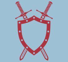 Shield & Swords Tattoo Design - Red Kids Tee