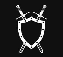 Shield & Swords Tattoo Design - White on Black Unisex T-Shirt