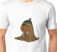 Cool Funny Walrus in Knitted Cap Unisex T-Shirt