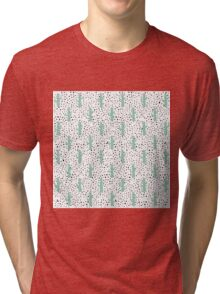 Modern Artistic Abstract Cactus and Triangles Tri-blend T-Shirt
