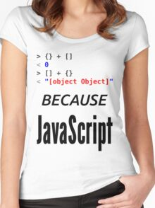 wat BECAUSE JavaScript - Funny Design for Web Developers Women's Fitted Scoop T-Shirt