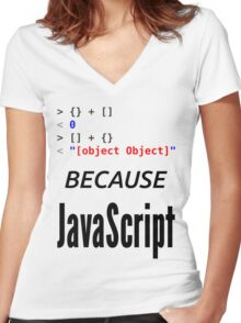 wat BECAUSE JavaScript - Funny Design for Web Developers Women's Fitted V-Neck T-Shirt