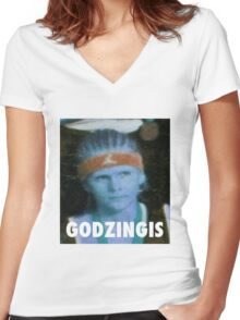 KRISTAPS PORZINGIS (GODZINGIS) KNICKS Women's Fitted V-Neck T-Shirt