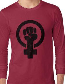 Feminist Raised Fist - Distressed Long Sleeve T-Shirt