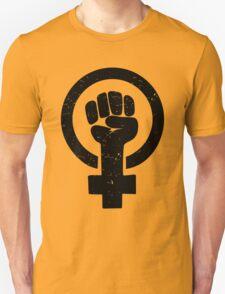 Feminist Raised Fist - Distressed T-Shirt