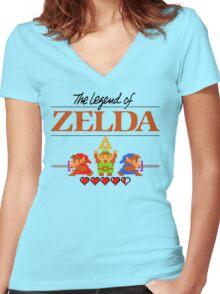 The Legend of Zelda Ocarina of Time 8 bit Women's Fitted V-Neck T-Shirt