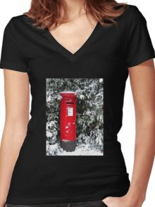 Pillar Box in the Snow Women's Fitted V-Neck T-Shirt