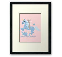 French Bulldog riding a Unicorn! UNIQUE Framed Print