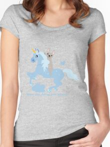 French Bulldog riding a Unicorn! UNIQUE Women's Fitted Scoop T-Shirt