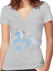 French Bulldog riding a Unicorn! UNIQUE Women's Fitted V-Neck T-Shirt