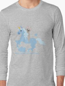 French Bulldog riding a Unicorn! UNIQUE Long Sleeve T-Shirt