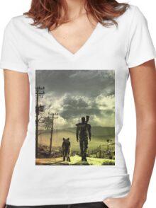 Desert Women's Fitted V-Neck T-Shirt