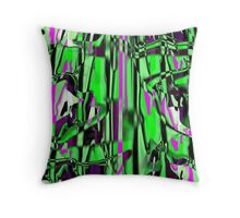 Abstract green/pink smash Throw Pillow