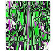 Abstract green/pink smash Poster