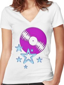 party - sky, star, music, disco, funny Women's Fitted V-Neck T-Shirt