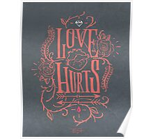 Love hurts, lettering badge Poster
