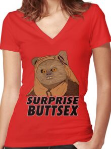 Ewok - Surprise Buttsex Women's Fitted V-Neck T-Shirt