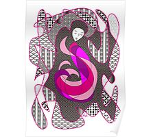 Hidden Passion Woman Pink Hair Abstract Geometric Portrait Poster