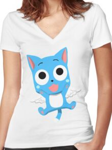 Happy - Fairy Tail Women's Fitted V-Neck T-Shirt