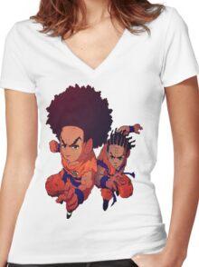 The Boondocks|Dragon Ball Z Women's Fitted V-Neck T-Shirt