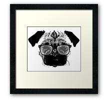Nerdy Pug Hipster Dog Framed Print
