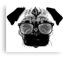 Nerdy Pug Hipster Dog Canvas Print