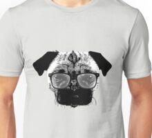 Nerdy Pug Hipster Dog Unisex T-Shirt