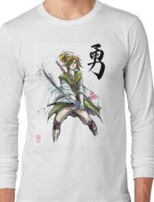 Link from Zelda Sumie style calligraphy COURAGE Long Sleeve T-Shirt