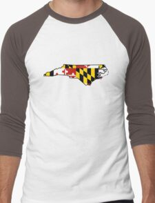 Maryland flag North Carolina outline Men's Baseball ¾ T-Shirt